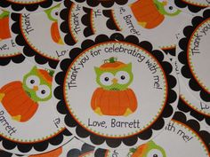 Adorable Halloween or Fall Pumpkin Owl Favor Tags by CustomParty4U, $6.00