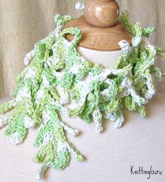 Crocheted Scarf Lariat Cucumbers and Cream Cool by KnittingGuru