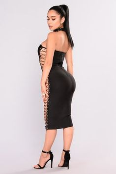 Sexy Stacey Lace Up Dress - Black