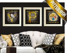 Score big with these (3) Pittsburgh Teams Maps featuring the Penguins, Steelers and Pirates. These vintage-style retro maps the downtown streets of