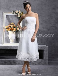 Lanting Bride® A-line / Princess Petite / Plus Sizes Wedding Dress - Classic & Timeless / Glamorous & Dramatic / ReceptionLittle White 2017 - $100.09