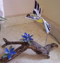 driftwood and stained glass projects | Stained Glass Yellow Finch on ...