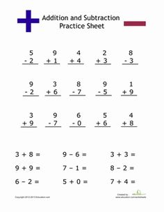 best addition and subtraction worksheets images  addition  simple addition and subtraction