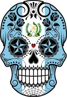 Sugar Skull with Roses and Flag of Guatemala