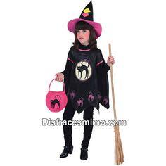 DisfracesMimo, disfraz bruja halloween infantiles para niñas.Este disfraz es ideal para Halloween o cualquier otra fiesta de disfraces que os imagineis.Este disfraz es ideal para tus fiestas temáticas de disfraces de bruja y miedo niñas infantiles.