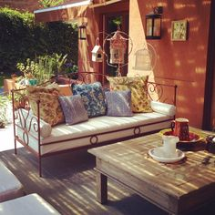 Galeria Asian Interior, Interior And Exterior, Interior Design, Porches, Outdoor Daybed, Outdoor Decor, Small Porch Decorating, Small Outdoor Spaces, Garden Deco