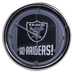 Oakland Raiders Go Team Chrome Wall Clock