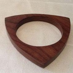 Vintage 60s Modernist Geometric Triangular Wooden Bangle Wood Triangle Bracelet