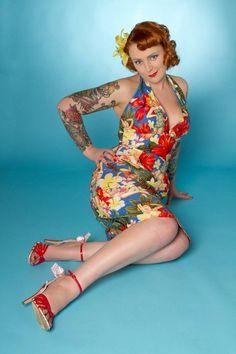 Hawaii Print Pin Up Girls Halter Sun Dress by boobookittycouture, £85.00