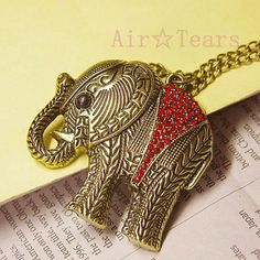 Vintage Victorian Red Crystal Elephant Necklace Chain by AirTears, $1.99