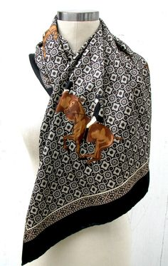 VIntage 1980s Silk Scarf Equestrian Horse Made by youdigitthemost
