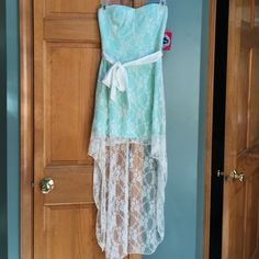 High low mint green strapless lace dress White lace, bow under the chest Trixxi Dresses Strapless