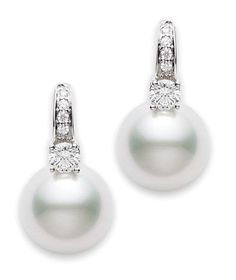 Mikimoto south sea pearl and diamond earrings