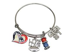 Infinity Collection New England Patriots Bracelet, Patriots Bangle, Football Bracelet, Patriots Jewelry & Perfect Football Fan Gift - Brought to you by Avarsha.com