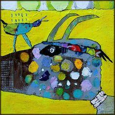 Elke Trittel acrylic,collage on canvas 20x20cm