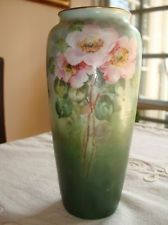 "R.C.BAVARIA HAND PAINTED Vase, Signed by L Schroeder, WILD ROSES, 7 3/4"" Floral Theme, Old Ones, Bavaria, Roses, Hand Painted, Signs, Painting, Pink, Bayern"
