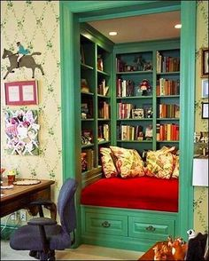 Turn a closet into a library/reading nook. I WILL have this one day.