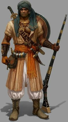 Ossirian-Mujahadin: human/male ranger/rogue-sniper archetype w/ jazail/masterwork-rifle/small metal-shield