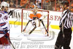 Derick Brassard - NHL Hockey Player for the New York Rangers plays in a game against his former Columbus Blue Jackets - now Philadelphia Flyers goalie, Steve Mason |   8x12 Color Art Print Photo