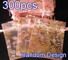 "300Pcs Baby Pink Pattern Drawstring Wedding Organza Gift Pouch Bags 2.7x3.5"" z13"