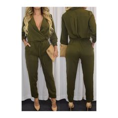 9348e3c7cd0 Rotita Olive Green Long Sleeve Faux Wrap Jumpsuit ( 23) ❤ liked on Polyvore  featuring jumpsuits