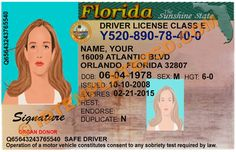 This is Florida (USA State) Drivers License PSD (Photoshop) Template. On this PSD Template you can put any Name,Address, License No. DOB etc and make your personalized Driver License.  You can also print this Florida (USA State) Drivers License from a professional plastic ID Card Printer and use as per your requirement.