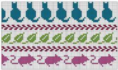 Рисунок для вязания спицами котов на варежках для детей, вариант 1
