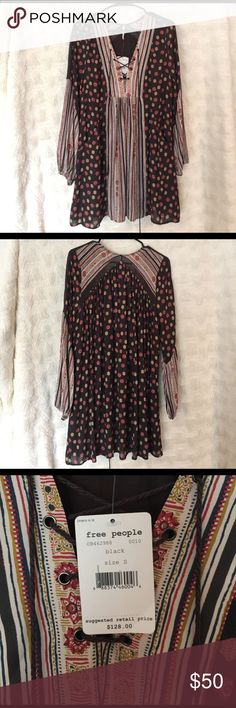 FREE PEOPLE LACE-UP RAIN OR SHINE DRESS New with tags! Perfect for a boho look! Free People Dresses Mini