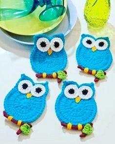 crochet owl These would make Crochet Owls, Crochet Diy, Crochet Potholders, Crochet Home, Crochet Crafts, Crochet Projects, Crochet Animals, Crochet Applique Patterns Free, Crochet Motifs