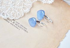 resin hook earrings with blue hydrangea petals- laconic jewelry with real flowers - pressed flower Gift for her, naturelovers