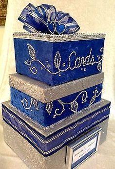 Wedding Money Card Box Royal Blue Bling Invitations Wedding Gift Card Box, Gift Card Boxes, Wedding Boxes, Wedding Cards, Wedding Gifts, Wedding Favors, Wedding Stuff, Gold Wedding Centerpieces, Blue Wedding Decorations