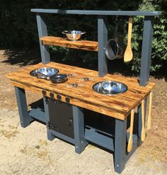 Mud Kitchen Frame Made From Pressure Treated Timber Comes in blue and grey by RUFDUK on Etsy - Today Pin Outdoor Play Kitchen, Diy Mud Kitchen, Mud Kitchen For Kids, Kitchen Ideas, Backyard Playground, Backyard For Kids, Diy For Kids, Pressure Treated Timber, Maila