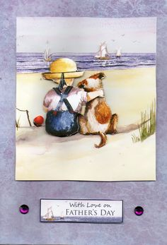All Our Yesterdays boy with dog card 'With Love on Father's Day' beach view