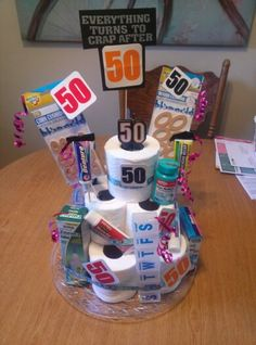 50th Birthday Toliet Paper Cake Gag Gifts Happy 40th