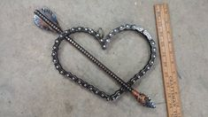Welded Art Steel Heart and Arrow by Steel2ShowMetalArt on Etsy