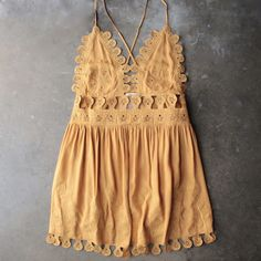 summer lace mini dress - chloe yellow - shophearts - 1