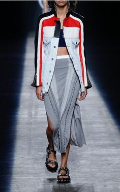 Love this cross b/t jean jacket and athletic wear. Easy to construct from 2 existing garments! Alexander Wang Look 7 on Moda Operandi