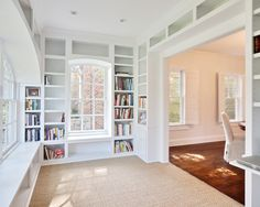 I LOVE THIS! I love all the nooks. This room would be PERFECT for a family office (family computer, kids homework stations, etc)