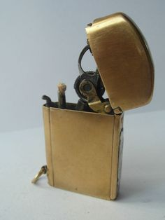 A Very Rare 1900s Gold Plated Push Button Petrol Lighter
