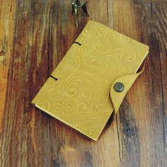 Leather Diary Journal with Vintage Snap Embossed Yellow Bound Blank Planner  #RefillableLeatherJournal