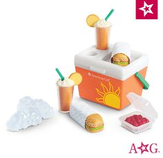 american girl doll crafts Product Features Set up a doll picnic anywhere with this sunny beach cooler! It's packed with yummy pretend food, including 2 orange drinks, 2 wrapped Cosas American Girl, All American Girl Dolls, American Girl Food, American Girl Crafts, American Girl Accessories, Baby Doll Accessories, Doll Crafts, Diy Doll, Poupées Our Generation