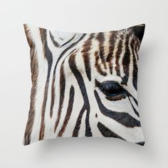 EYE OF THE ZEBRA Throw Pillow by Catspaws - $20.00