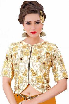 Fancy White Art Silk Embroidered Blouse Price:£ 75 White Art Silk Round Neck Half Sleeve Blouse online at Andaaz Fashion  http://www.andaazfashion.co.uk/womens/saree-blouse-designs/fancy-white-art-silk-embroidered-blouse-blv006.html