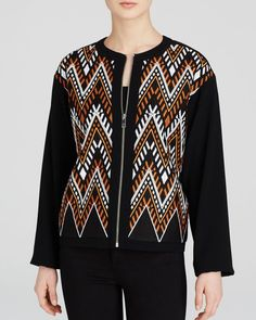Dkny Embroidered Zip Front Jacket