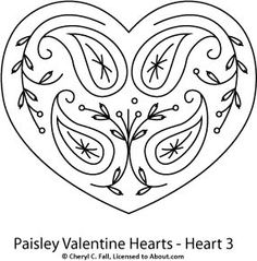Paisley Hearts 3-Piece Pattern Set: Paisley Heart 3