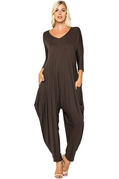 244330f4b6a Buy Annabelle Women s Long Sleeve Comfy Harem Jumpsuits Romper with Pockets  at Womens Clothing Center