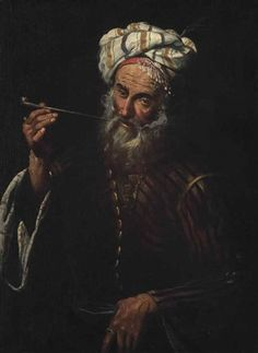 An oriental man smoking a pipe par Pier Francesco Mola
