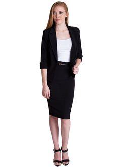 One Button Blazer and Pencil Skirt Set  #suitset #blazer #pencilskirt #oofficewear