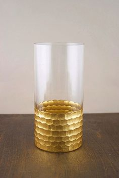 """[Metallic, larger scale, vertically oriented, and sculptural but also useful] Gold Honeycomb Cylinder Vase 8"""" x 4"""" $13"""