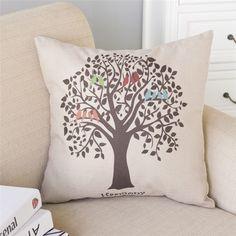 45*45cm Birds and Tree Pillow Cover Cotton&Linen Cushion Office Nap Throw Pillow Case UIE545